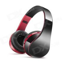 NX-8252 Portable Folding Bluetooth V3.0 Headphones w/ Mic - Red + Black - $26.25