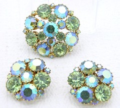 VTG Gold Tone Green Blue AB Rhinestone Cluster Brooch Pin Earrings - $39.60