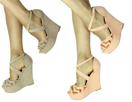 New Qupid Finder 169 Mesh Open Toe Wedge Platform Heels Shoes Size 5.5-10 - $11.99