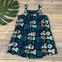 Marimekko for Target Girls Sundress Size L Black Blue Floral Sleeveless Cotton - $18.80