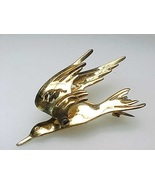 Vintage HANDMADE GOLD over STERLING Silver 3-D BIRD BROOCH Pin - 1 3/4 i... - £91.54 GBP