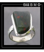 RARE BLOODSTONE RING in Sterling Silver - Size 7 1/4 - $125.00