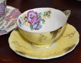 VINTAGE TEA CUP & SAUCER JAPAN YELLOW PANSY HAND PAINTED GOLD GILT ACCENTS - $24.99