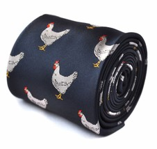 Frederick Thomas navy tie with chicken embroidered design  FT1531
