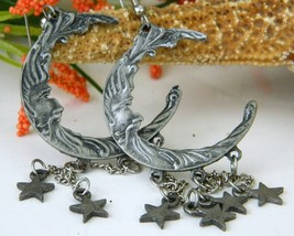 Man In Moon Dangling Stars Celestial Earrings Pewter Pierced - $17.95