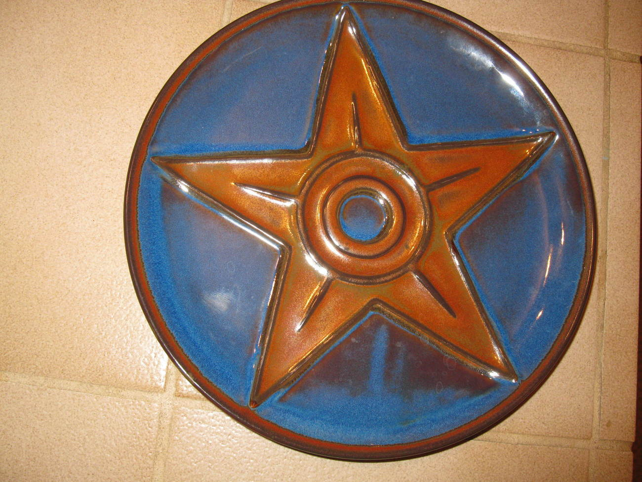 Texas Dark Blue Plate with Large Brown Star New