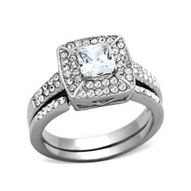Stainless Steel Princess Cut CZ Engagement Ring & Wedding Ring Set - SIZE 5-10 image 1