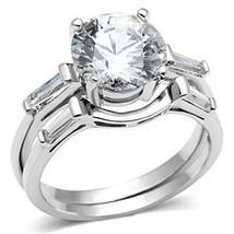 2 Piece Round Cut Cubic Zirconia Engagement & Wedding Ring Set  - SIZE 5 - 9 image 2