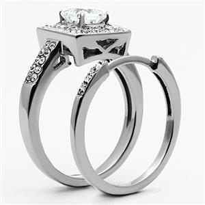 Stainless Steel Princess Cut CZ Engagement Ring & Wedding Ring Set - SIZE 5-10 image 3