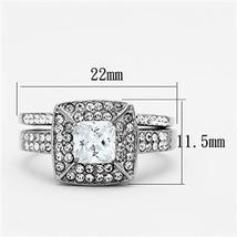 Stainless Steel Princess Cut CZ Engagement Ring & Wedding Ring Set - SIZE 5-10 image 4