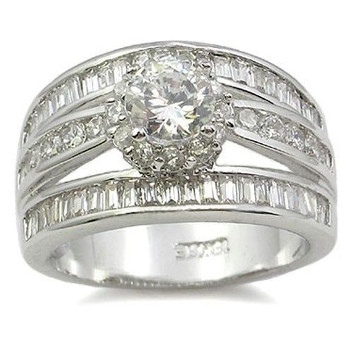 CZ ENGAGEMENT RING - Solitaire Middle Channel Set Row Side CZ Ring  SIZE 6 - 9