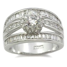 CZ ENGAGEMENT RING - Solitaire Middle Channel Set Row Side CZ Ring  SIZE 6 - 9 image 1