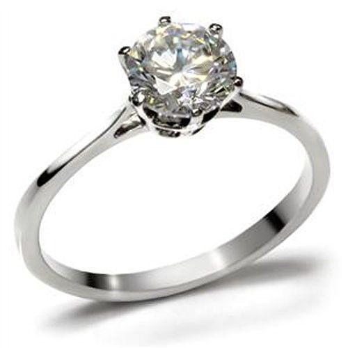 Simple Easy to Match Stainless Steel CZ Engagement Ring - SIZE 5 to 10