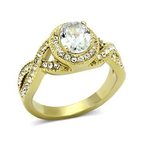 Gold Tone Antique Inspired Oval Cut Cubic Zirconia Engagement Ring- SIZE 7