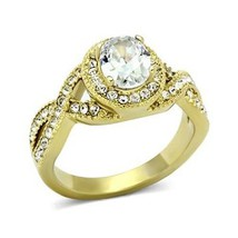 Gold Tone Antique Inspired Oval Cut Cubic Zirconia Engagement Ring- SIZE 7 image 1