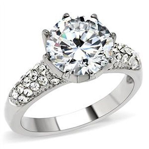 Stainless Steel 6.40 CTS Pave Band CZ Engagement Ring- SIZE 6 TO 10
