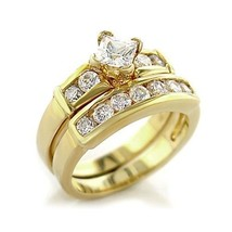 Gold Tone Princess Cut CZ Engagement & Wedding CZ Ring Set - SIZE 5 - 10 image 1