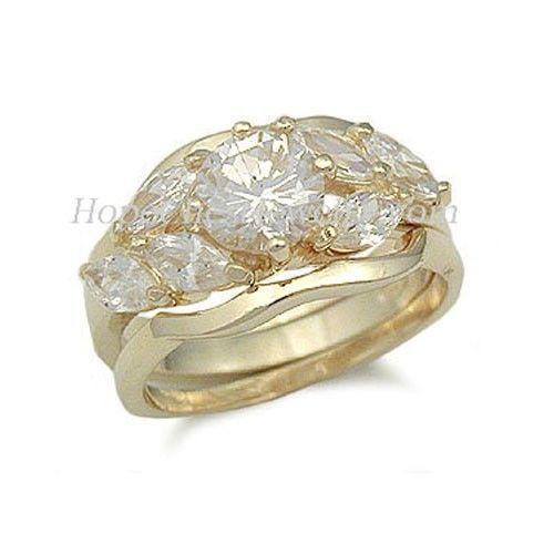 Gold Tone Cubic Zirconia Engagement and Wedding Ring Set - SIZES 5 - 10