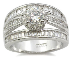 CZ ENGAGEMENT RING - Solitaire Middle Channel Set Row Side CZ Ring  SIZE 6 - 9 image 2