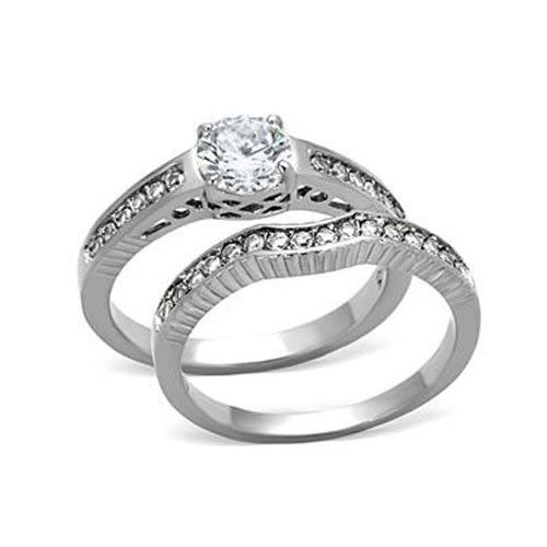 Never Fade Antique Inspired Stainless Steel CZ Wedding Ring Set Sizes - 5 to 10