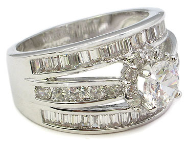 CZ ENGAGEMENT RING - Solitaire Middle Channel Set Row Side CZ Ring  SIZE 6 - 9 image 3