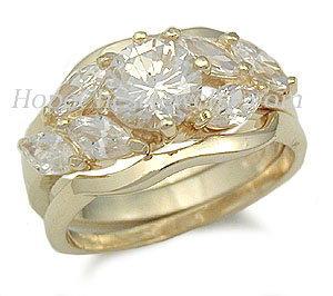 Gold Tone Cubic Zirconia Engagement and Wedding Ring Set - SIZES 5 - 10 image 2
