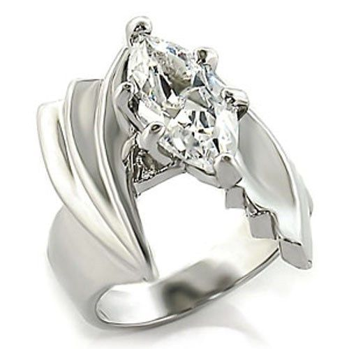 Silver Tone Marquise CZ Engagement Ring- SIZE 7, 8