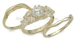 Gold Tone Cubic Zirconia Engagement and Wedding Ring Set - SIZES 5 - 10 image 3