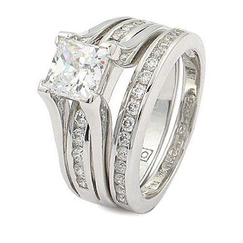CZ WEDDING RINGS - Princess Cut 1 Carat CZ Engagement & Wedding Rings SZ 5 - 10