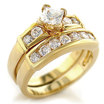 Gold Tone Princess Cut CZ Engagement & Wedding CZ Ring Set - SIZE 5 - 10 image 2
