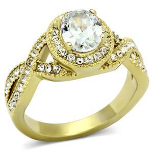 Gold Tone Antique Inspired Oval Cut Cubic Zirconia Engagement Ring- SIZE 7 image 2