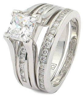 CZ WEDDING RINGS - Princess Cut 1 Carat CZ Engagement & Wedding Rings SZ 5 - 10 image 2