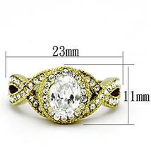 Gold Tone Antique Inspired Oval Cut Cubic Zirconia Engagement Ring- SIZE 7 image 3