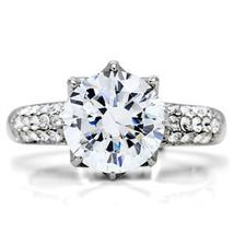 Stainless Steel 6.40 CTS Pave Band CZ Engagement Ring- SIZE 6 TO 10 image 4
