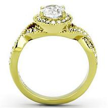 Gold Tone Antique Inspired Oval Cut Cubic Zirconia Engagement Ring- SIZE 7 image 4