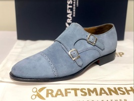 Handmade Men's Gray Suede Double Buckle Strap Dress/Formal Shoes image 4