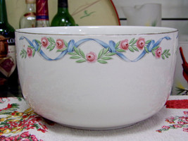 "Hall's Wildfire Straight Sided Ribbons And Roses Large 9"" Mixing Bowl - $11.88"