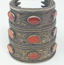 Antique 1900's Turkmenistan Bilezik Silver Cornelian Cuff Ethnic Bracelet - $397.58+