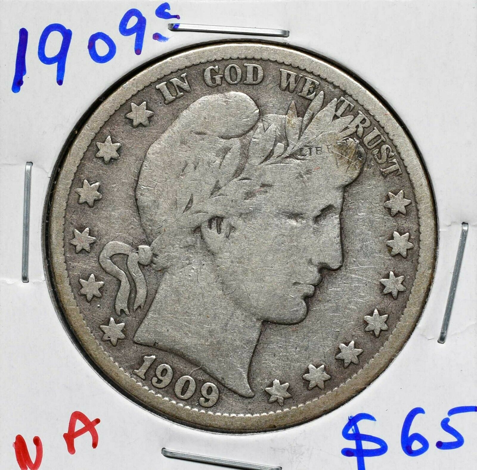 1909S Silver Barber Half Dollar 50¢ Coin Lot# A 610