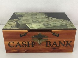Wooden Piggy Bank with Latch Lacquered Treasure Chest Design Front Coin ... - $25.95