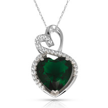 4.20 Carat Halo Emerald Double Heart Gemstone Pendant & Necklace14K White Gold - $173.25