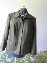 Talbot Women Wool Olive Green Blazer Suit Jacket SZ 12W - $34.74