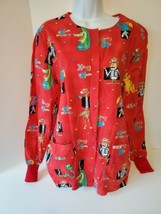 Cherokee Womens Scrub Top with Pockets Size Small Red Animals - $14.84