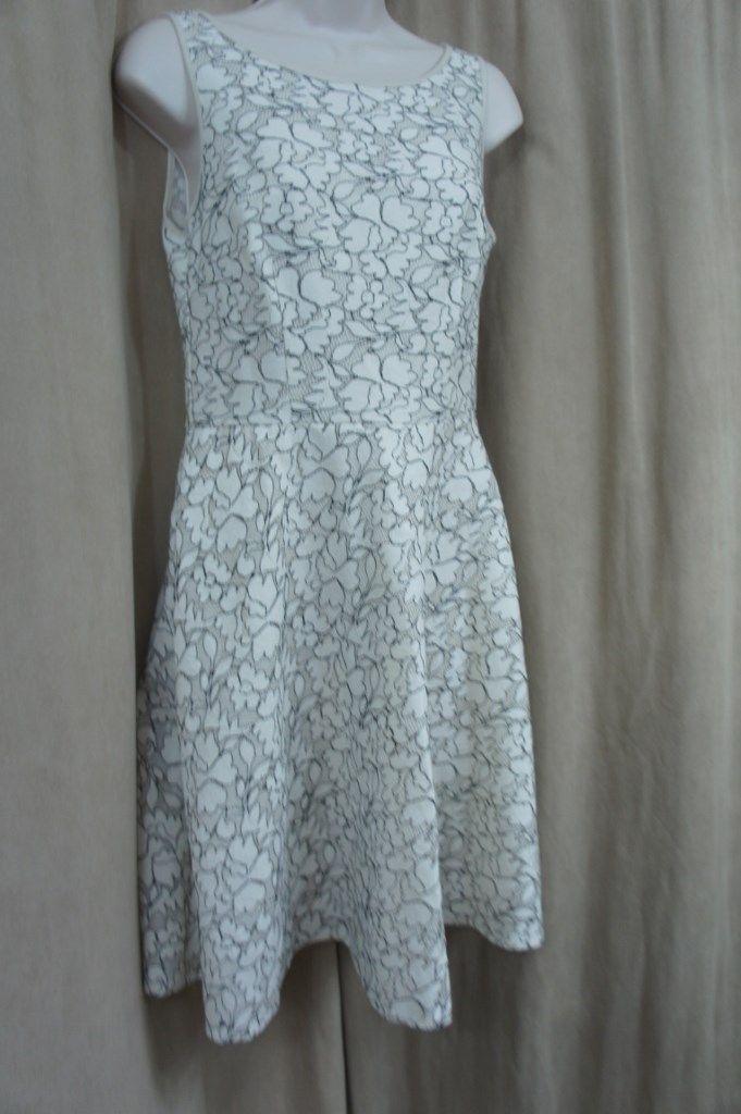 Betsey Johnson Dress Sz 2 Natural Black Lace A-Line Casual Cocktail Tea Dress
