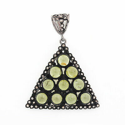 Primary image for Peridot Pendant Diamond Solid Pave 925 Sterling Silver Birthstone Jewelry Fine