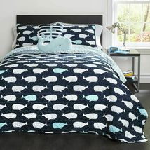Lush Decor Whale Kids Quilt Reversible 5 Piece Bedding Set with Sham and Decorat image 7