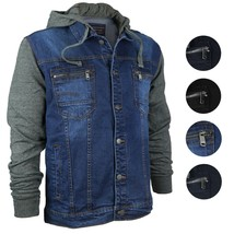 Vertical Eagle Men's Cotton Hooded Slim Fit Denim Jean Jacket MVE 1810