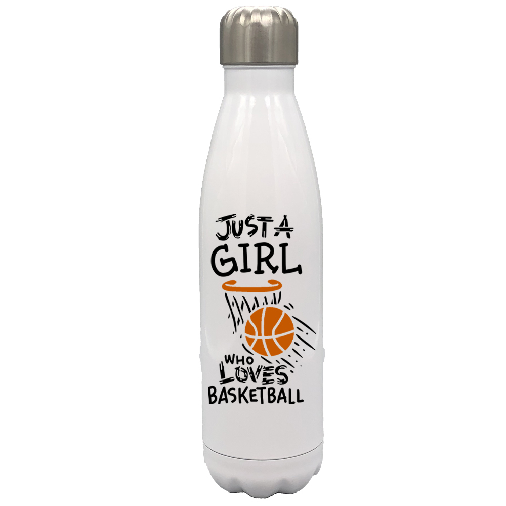 Just a Girl Who Loves Basketball 17oz Stainless Steel Water Bottle Orange Text - $34.95