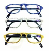 Glitter High Bridge Light Reading Glasses Yellow Blue Silver +2.00 to 3.50 - $4.95