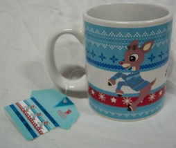 RUDOLPH THE RED NOSED REINDEER CHRISTMAS SWEATER STYLE CERAMIC MUG NEW - $14.85